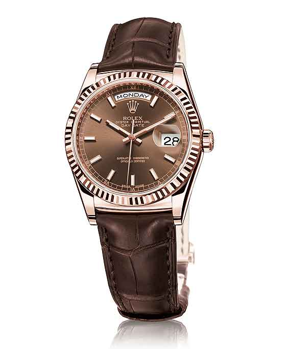The Rolex Day Date On Alligator Strap Rubber B