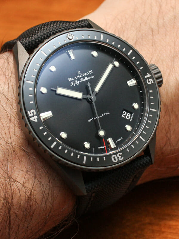 BLANCPAIN- THE FIFTY FATHOMS BATHYSCAPHE WATCH WITH NATO STRAP