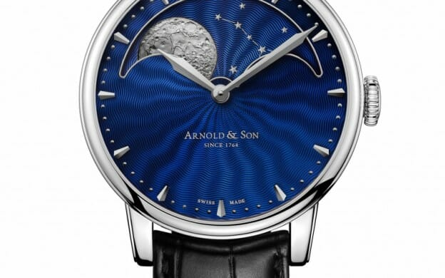 Arnold & Son HM Perpetual Moon Stainless Steel Watch With Blue Guilloche Dial