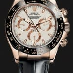 rose gold rolex daytona watch with black leather strap