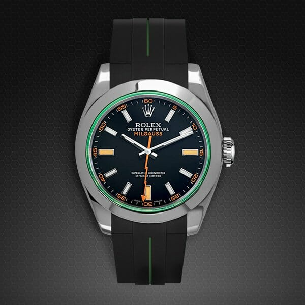 Two Tone Rubber Strap For Rolex Milgauss Rubber B