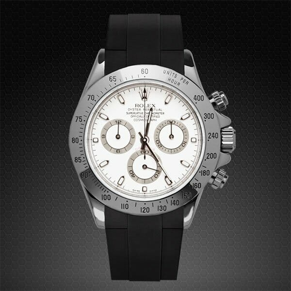 black rubber replacement strap for stainless steel rolex daytona