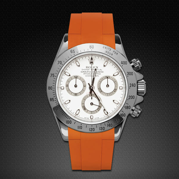 orange rubber luxury replacement strap for stainless steel rolex daytona model