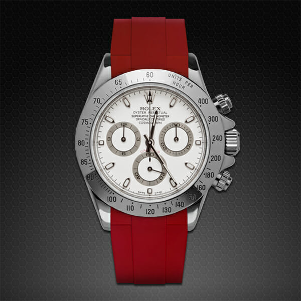 Red rubber replacement strap for stainless steel rolex daytona