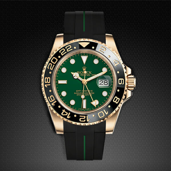 rubber b replacement strap for rolex gmt-master ii gold