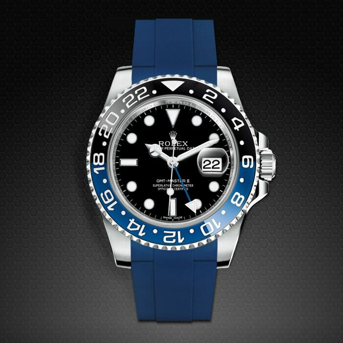 rubber b replacement strap for rolex gat-master ii ceramic