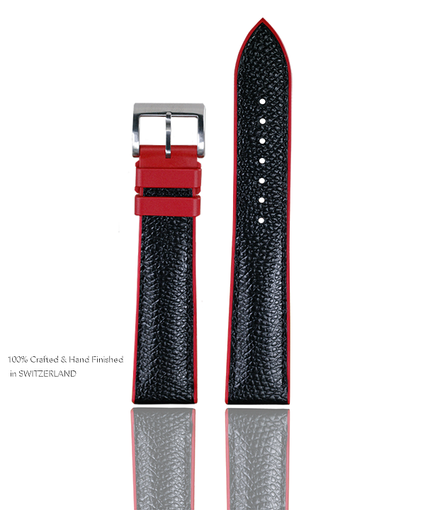 Photo of Full Grain Black Leather Watch Band with Red Devil Rubber Base