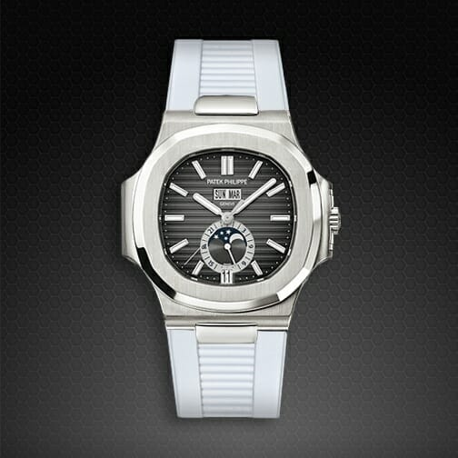 Photo of Arctic White Strap for Patek Philippe Nautilus 5726A SS