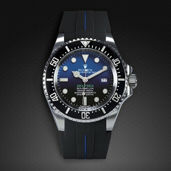 Photo Of Jet Black Pacific Blue Strap For Rolex Deepsea Tang Buckle Series Vulchromatic