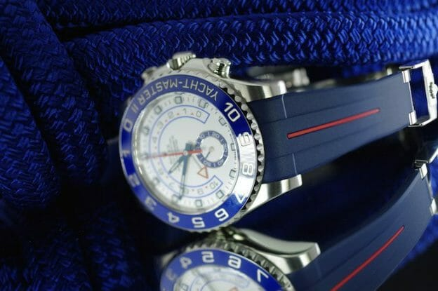Photo of Navy/Red Devil Strap for Rolex Yachtmaster II 44mm - Classic Series VulChromatic® Hi-Rise