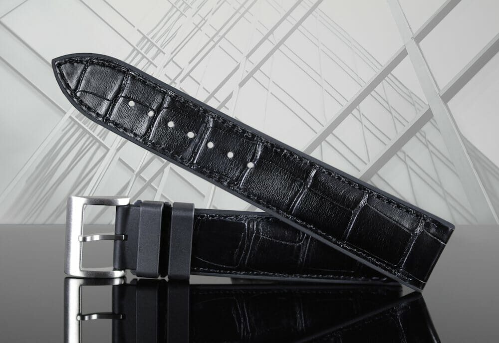 Photo of Genuine Alligator Leather Replacement Watch Strap in Black on Jet Black Rubber Base