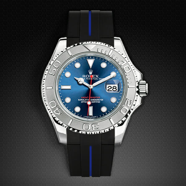 Photo of Jet Black / Pacific Blue VulChromatic Strap for Rolex Yachtmaster 40mm - Tang Buckle Series