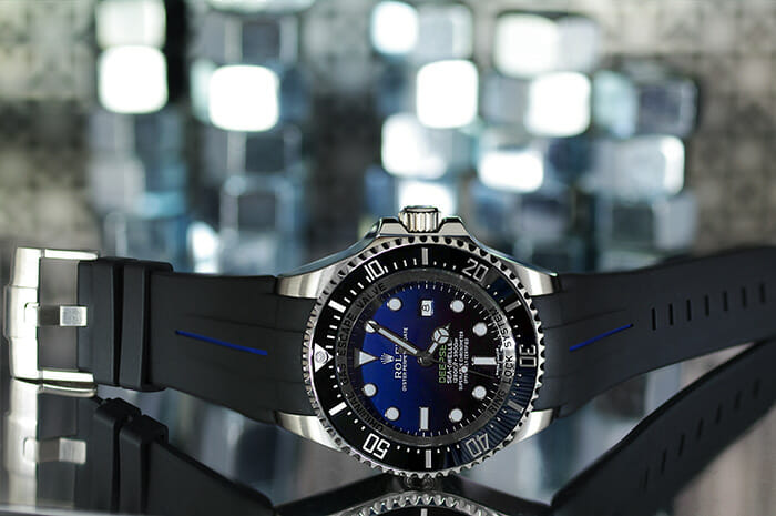 Photo of Jet Black / Pacific Blue Strap for Rolex Deepsea - Tang Buckle Series VulChromatic®