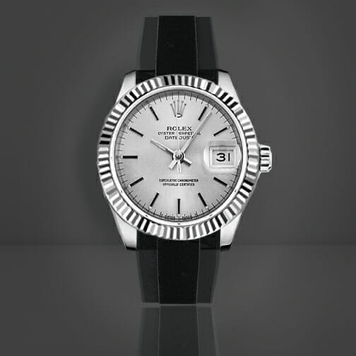 photo of Rolex Datejust 31mm Fitted with a Tuxedo Velour Rubber B Strap