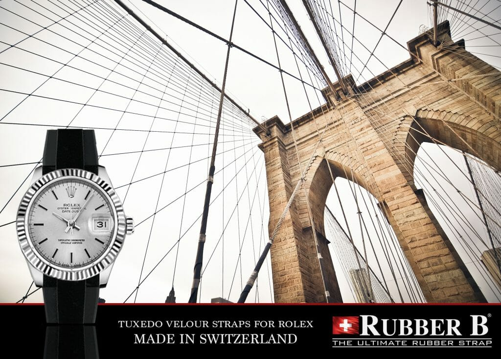 Ad for Rubber B Tuxedo Velour Straps for Rolex Midsize and Ladies Models
