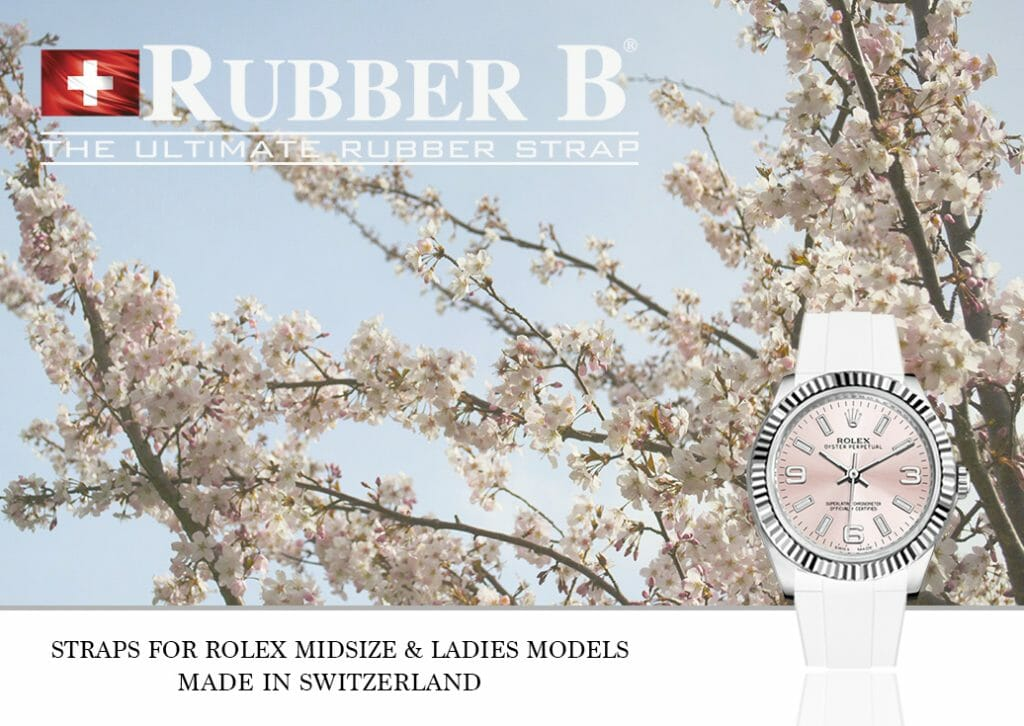 Ad for Rubber B Straps for Rolex Midsize and Ladies Models