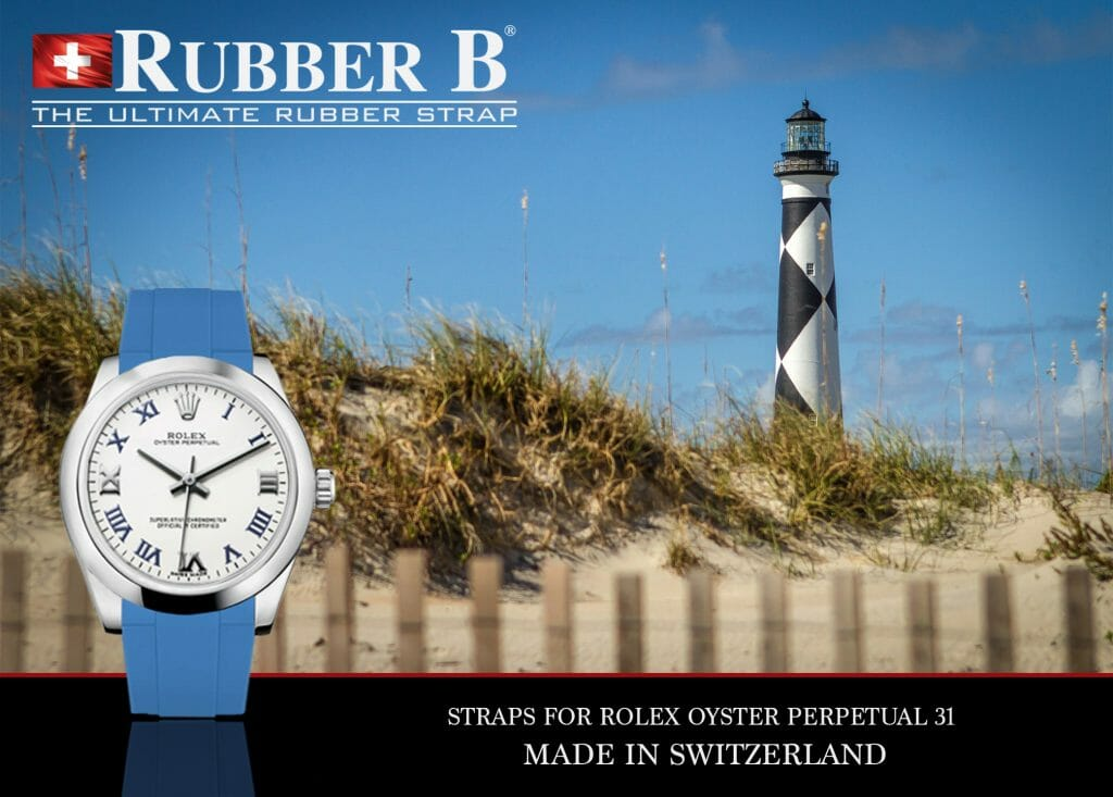 Ad for Sky Blue Rubber Strap for Rolex Oyster Perpetual 31 Model
