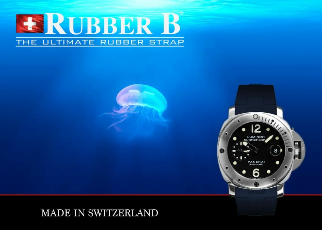Ad for Navy Blue Rubber B Strap for Panerai Submersible