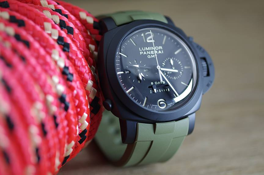 ad for Military Green Rubber B Strap for Panerai