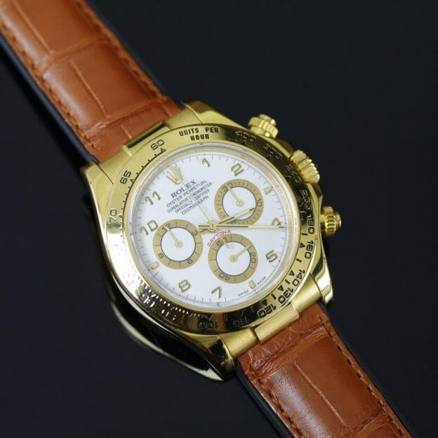 Photo of Yellow Gold Rolex Daytona on Cognac Alligator Leather Strap