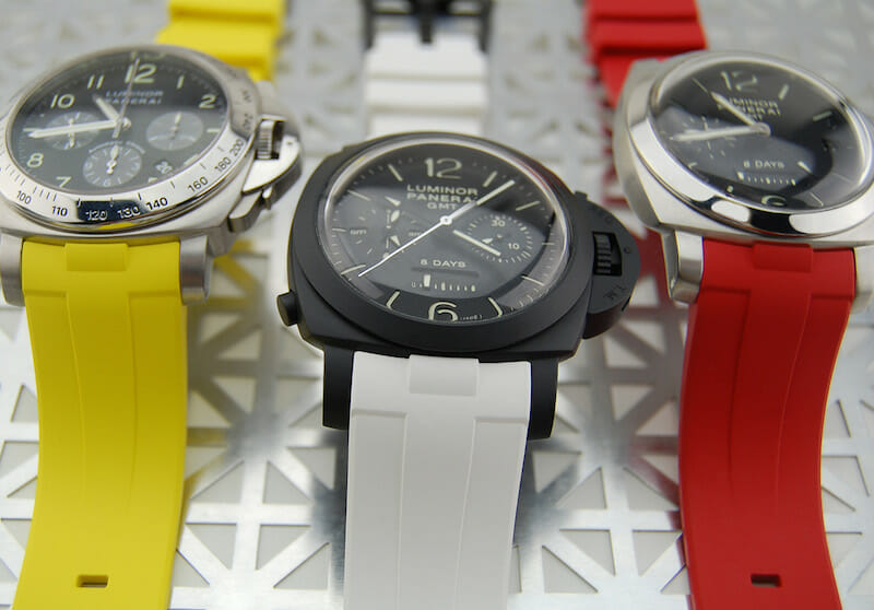 photo of Canary Yellow, Arctic White and Red Devil Straps for Panerai Luminor 1950 44mm (Type II)