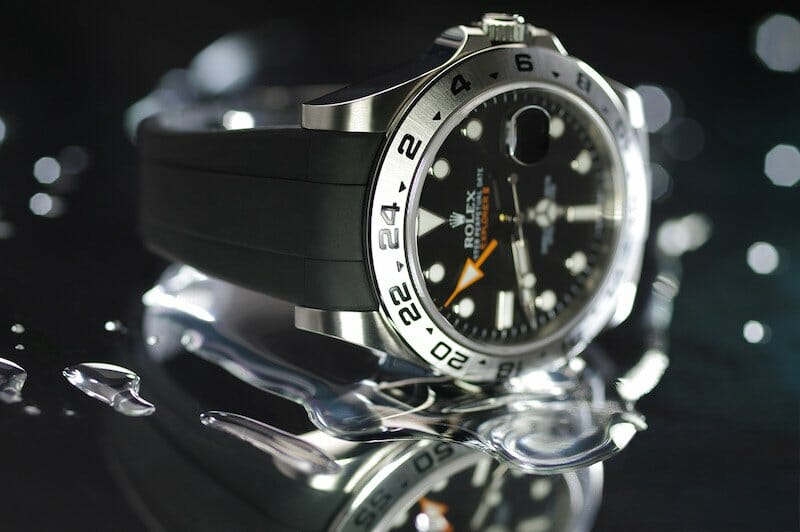 Rolex Explorer Ii 42 Mm On Jet Black Rubber B Strap Rubber B