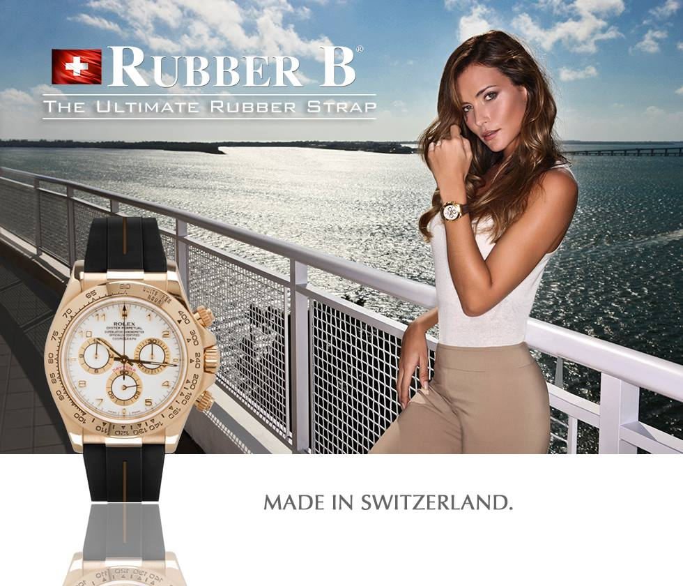 ad for Swiss Made Rubber B Straps for Rolex Daytona