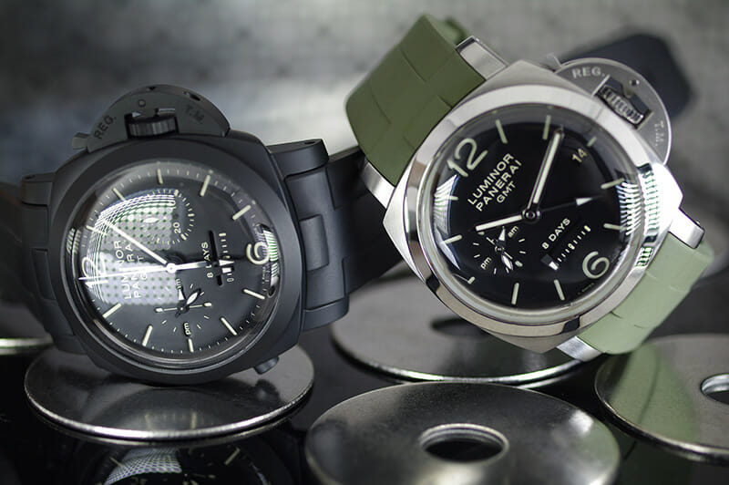 photo of Vulcanized Rubber Straps for Panerai Luminor 1950 in Jet Black and Military Green