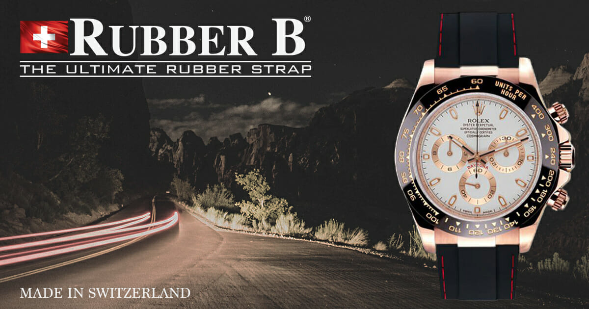 Couture Series Rubber B Strap on Rose Gold Rolex Daytona