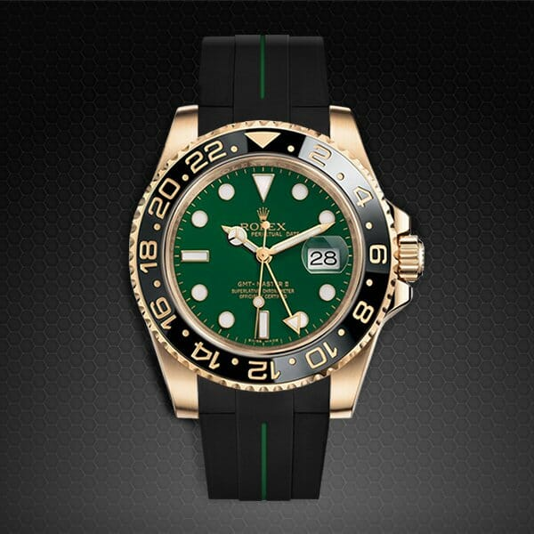 Jet Black and Forest Green Rubber Strap for Rolex GMT-Master II Ceramic