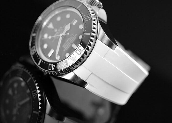 Arctic White Rubber B Strap for Rolex Deepsea