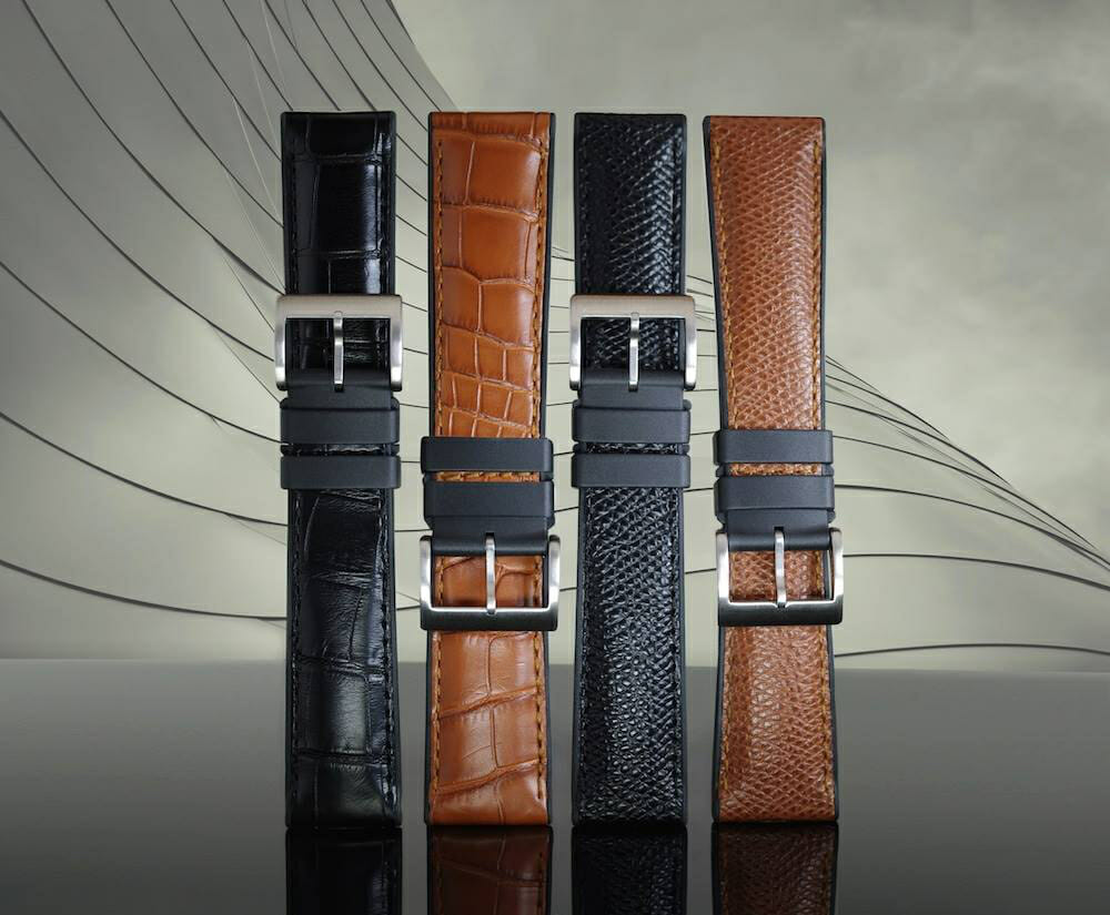 Rubber B Structure Series Genuine Leather Watch Straps