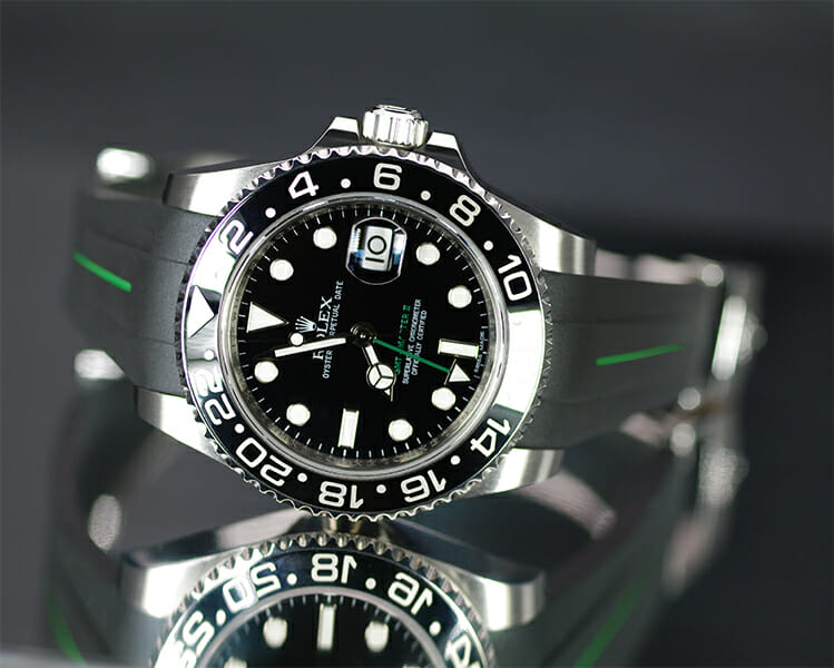 Rolex Submariner Rubber Strap Black and Green Rubber...