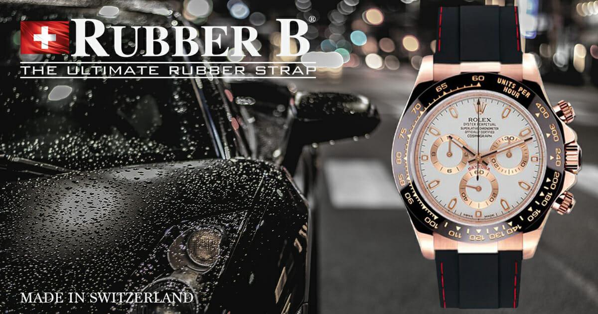 Jet Black Couture Series Strap for Everose Gold Rolex Cosmograph Daytona