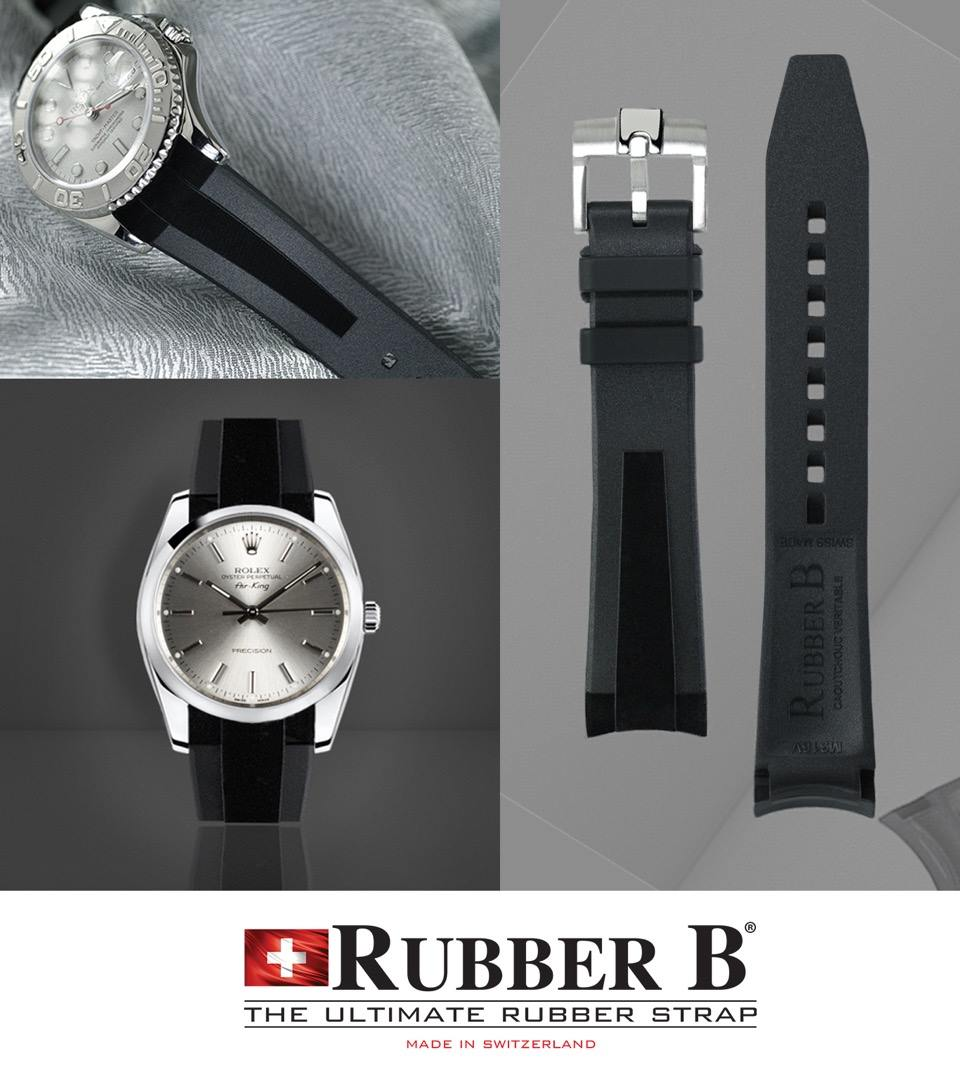 Tuxedo Velour Rubber B Straps for Rolex