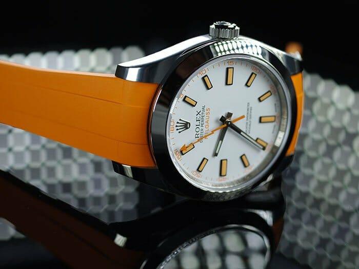 Mandarin Orange Rubber B Strap For Rolex Milgauss Rubber B
