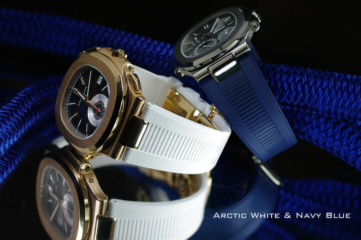 photo of Arctic White and Navy Blue Rubber Straps for Patek Philippe Nautilus 5711