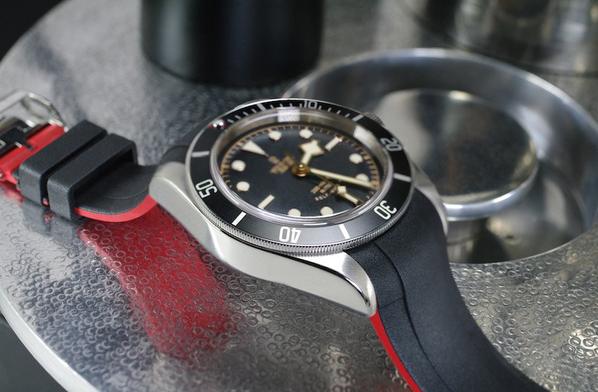 photo of red and black VulChromatic Rubber B Strap for Tudor Heritage Black Bay 41