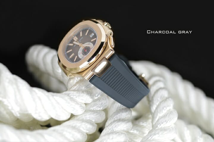 Grey Watch Band for the Patek Philippe Nautilus 5712 RG-WG