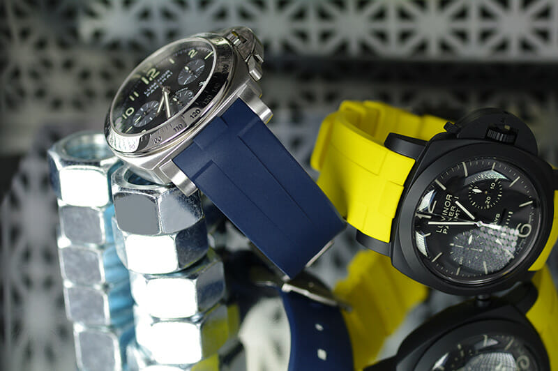 Blue and Yellow wrist band for the Panerai Luminor Submersible