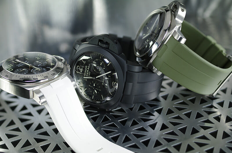 White Black Green Panerai Submersible Bands