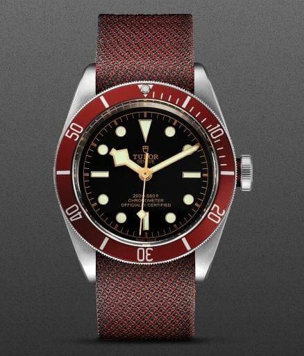 Lady Gaga Tudor Black Bay Watch with Red Fabric Strap
