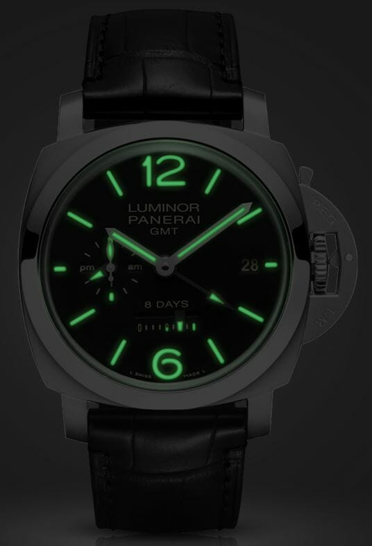 Officine Panerai Luminor 1950 8 Days GMT Acciaio - 44mm – Reference PAM00233 night time