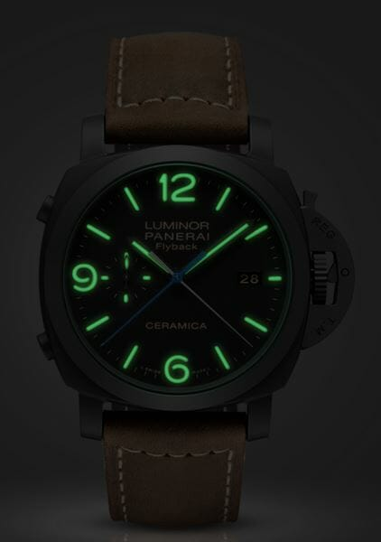 Luminescent View of the Panerai Luminor 1950 3 Days Chrono Flyback Automatic Ceramica - 44mm – Reference PAM00580