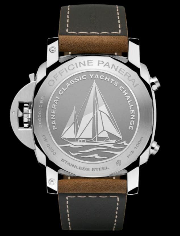 Engraved Back of the Panerai Luminor 1950 PCYC 3 Days Chrono Flyback Automatic Acciaio - 44mm– Reference PAM00653