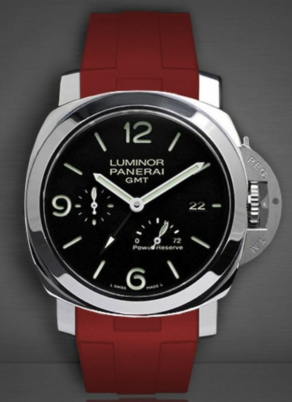 Panerai Luminor 1950 3 Days Chrono Flyback with a Rubber B red band