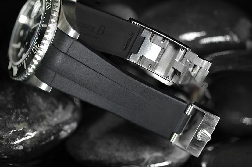 Rubber B straps support the original Rolex Glidelock clasps with extension system
