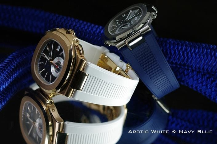 White and Blue Rubber B bands for the Patek Philippe Nautilus 5711-1A-001 Stainless Steel Watch