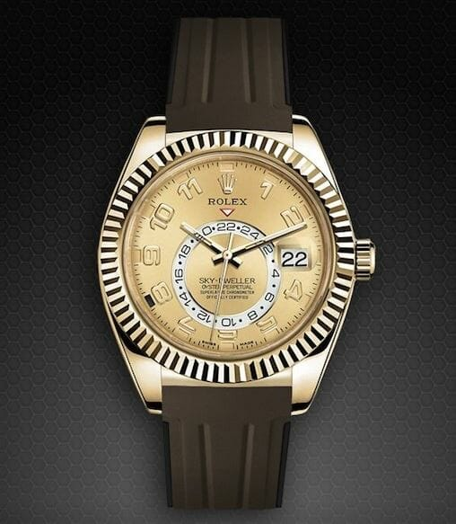 Brown Band for the Yellow Gold Rolex Skydweller