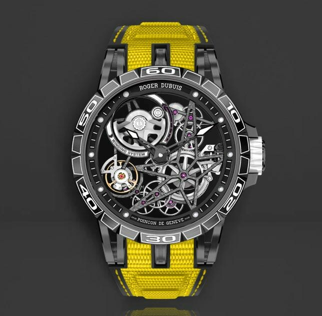 Roger Dubois RDDBEX0705 with Rubber B Yellow Strap with Yellow Stitching